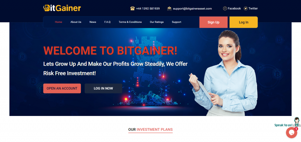 Bitgainer homepage image