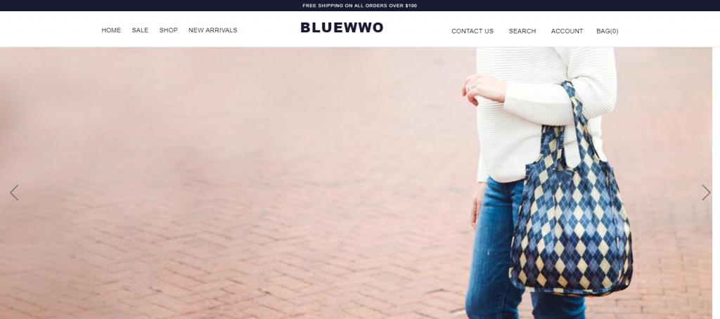bluewwo homepage image of a lady carrying a handbag
