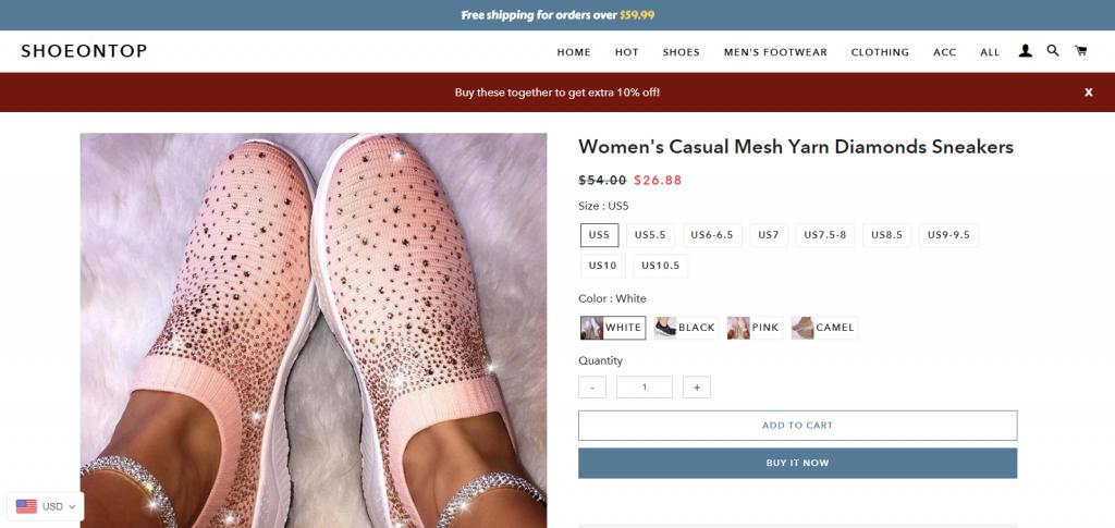 shoeontop image of feet wearing pink sneakers