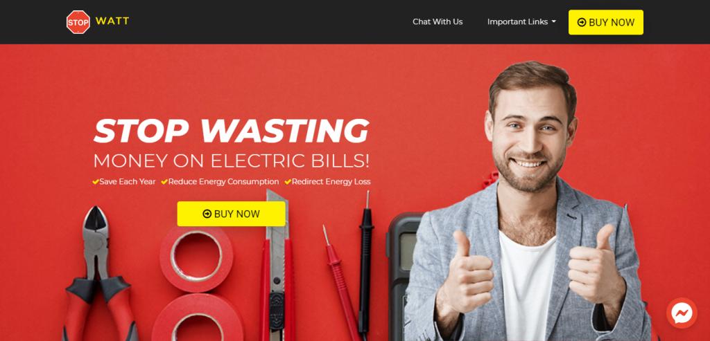 StopWatts Homepage Image