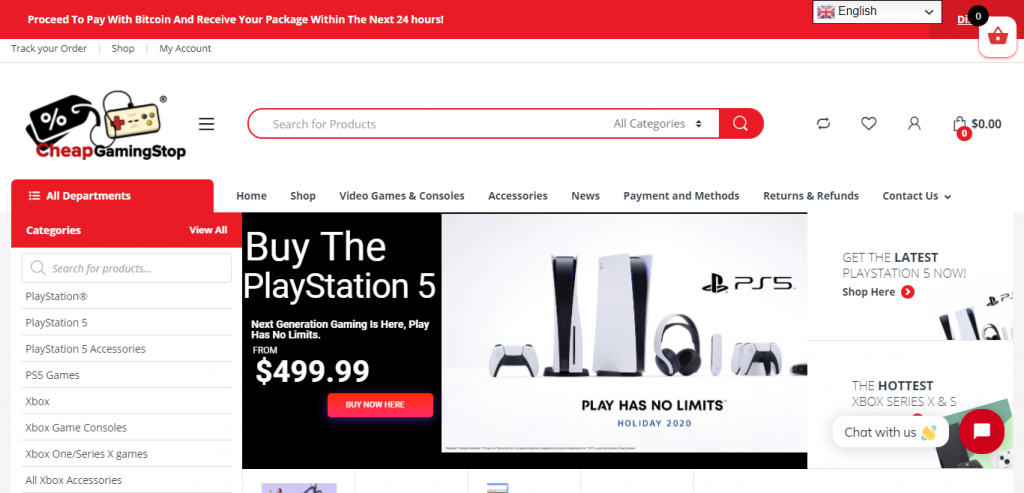 Cheapgamingstop.com Homepage Image