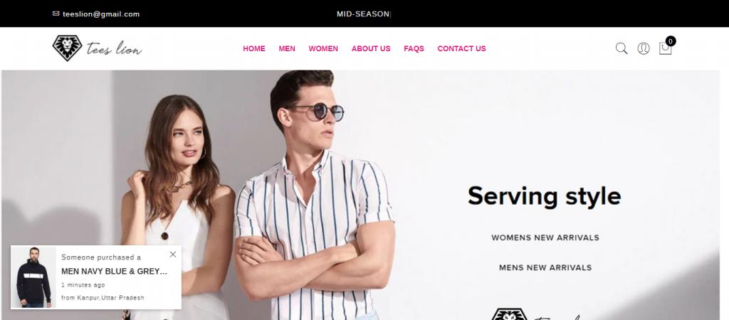 TeesLion.com Homepage Image
