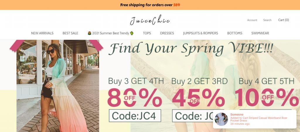 Juicechic,com Homepage Image
