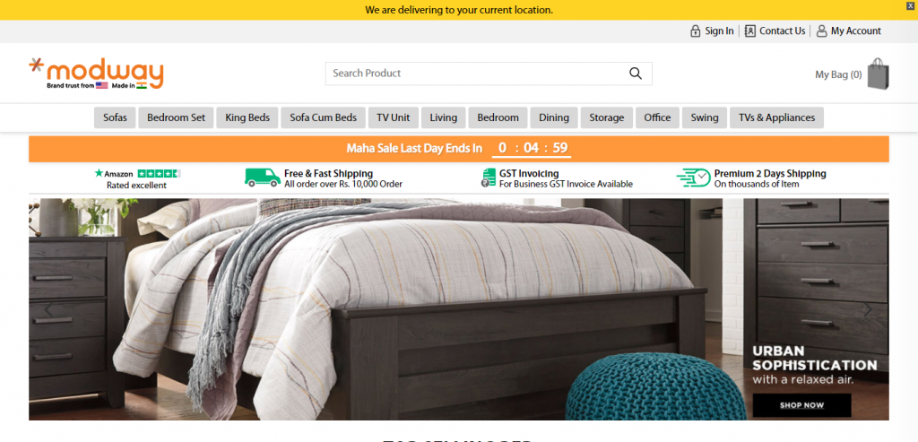 Modwayfurniture.in Homepage Image