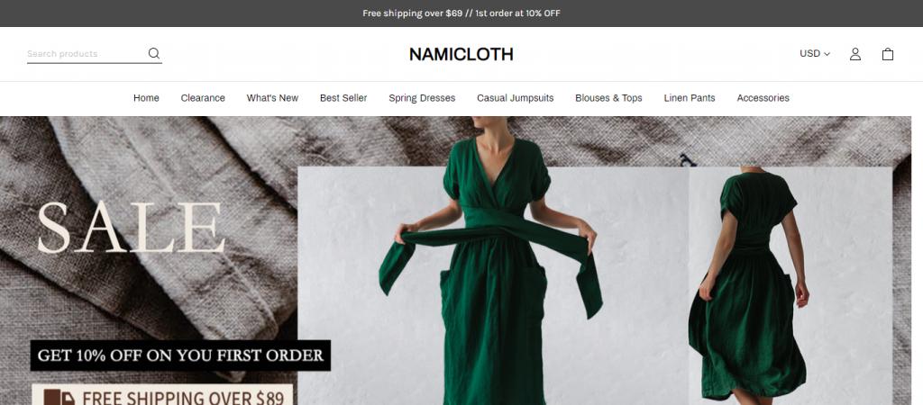 Namicloth.com Homepage Image