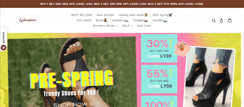Lydiashoes.com Homepage Image