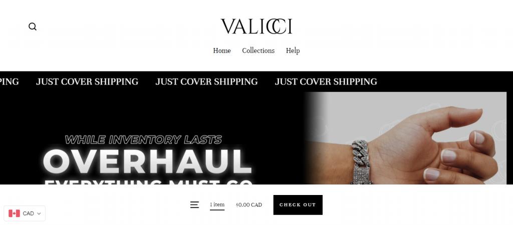 Valicci.com Homepage Image